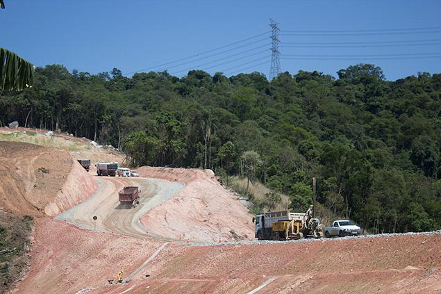 Obras do Trecho Norte do Rodoanel, na Serra da Cantareira