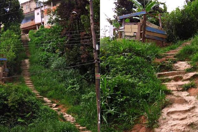 Escadaria no Jardim Brilha: a ausência de corrimão atrapalha os moradores