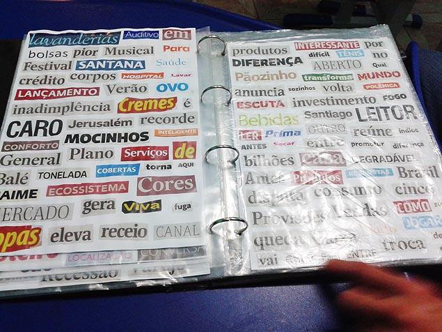 Material educativo é feito com recortes de jornais e revistas