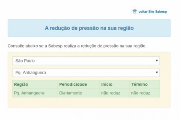 Reprodução do portal criado pela Sabesp para consulta de locais com redução na pressão das tubulações
