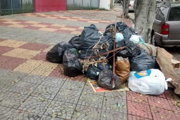 Lixo acumulado em frente a escola José Auricchio, em São Caetano do Sul (Kátia Flora/Blog Mural)