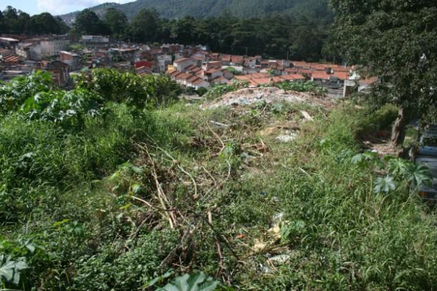 Terreno da prefeitura sem utilidade acumula mato e lixo (Créditos: Bianca Pedrina)