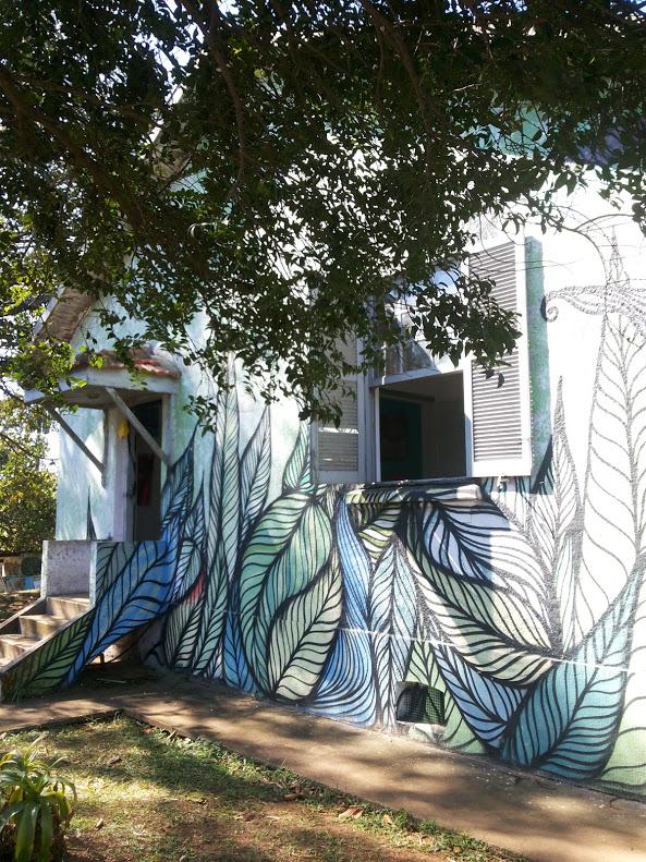: Além da natureza, o espaço é decorado por graffitis de artistas locais e visitantes (Foto: Priscila Pacheco/Agência Mural)
