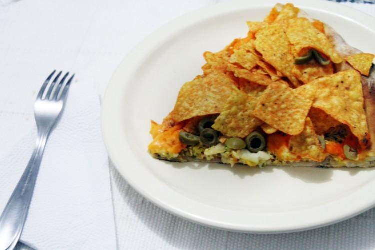 Pizza Bacaritos, que leva frango, cheddar e salgadinho Doritos